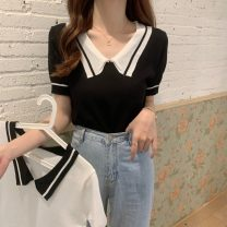 T-shirt White, black Average size Spring 2021 Short sleeve Polo collar Straight cylinder Regular routine commute other 31% (inclusive) - 50% (inclusive) 18-24 years old Korean version Other / other W0323