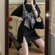 Dress Summer 2021 White, black Average size Short skirt Two piece set Short sleeve commute Crew neck Loose waist Solid color Socket A-line skirt 18-24 years old Type A Other / other Korean version 0411Y 31% (inclusive) - 50% (inclusive) other