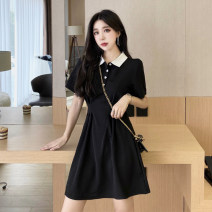 Dress Spring 2021 black S,M,L,XL Short skirt singleton  Short sleeve commute Polo collar Socket A-line skirt Others 18-24 years old Other / other Korean version 0309L 30% and below other other
