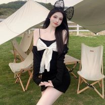 Dress Spring 2021 Black cardigan, suspender dress Average size Short skirt Two piece set Sleeveless commute High waist Solid color Socket A-line skirt camisole 18-24 years old Type A Other / other Korean version Button W0331 30% and below other