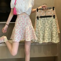 skirt Summer 2021 S,M,L Short skirt commute High waist A-line skirt Broken flowers Type A 18-24 years old 0418L 30% and below other Other / other Korean version