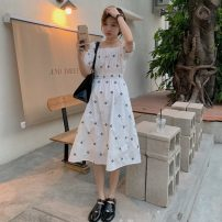 Dress Summer 2021 White shirt, black shirt, white dress, black dress Average size Mid length dress singleton  Short sleeve commute square neck High waist Broken flowers Socket A-line skirt puff sleeve Others 18-24 years old Type A Other / other Korean version W0410 30% and below other