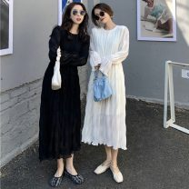 Dress Spring 2021 White, black Average size longuette singleton  Long sleeves commute Crew neck High waist Solid color Socket A-line skirt routine Others 18-24 years old Type A Other / other Korean version Splicing W0402 31% (inclusive) - 50% (inclusive) other