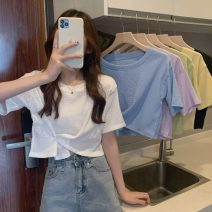 T-shirt White, purple, green, blue, yellow, black Average size Spring 2021 Short sleeve Crew neck easy have cash less than that is registered in the accounts commute other 30% and below 18-24 years old Korean version Other / other 0403L