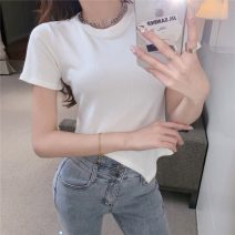 T-shirt White, black Average size Spring 2021 Short sleeve Crew neck Self cultivation have cash less than that is registered in the accounts routine commute other 31% (inclusive) - 50% (inclusive) 18-24 years old Korean version Solid color Other / other W0403