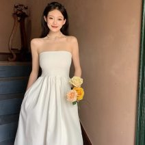 Dress Summer 2021 White, black Average size Mid length dress singleton  Sleeveless commute One word collar High waist Solid color Socket A-line skirt Breast wrapping 18-24 years old Type A Other / other Korean version W0417 30% and below other