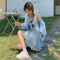 Dress Summer 2021 Blue shirt, pink shirt, blue suspender floral skirt, pink suspender floral skirt Average size Short skirt Two piece set Sleeveless commute High waist Socket A-line skirt camisole 18-24 years old Type A Other / other Korean version 0412Y 31% (inclusive) - 50% (inclusive)
