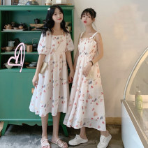 Dress Summer 2021 Red sling, red short sleeve, green sling, green short sleeve Average size Mid length dress singleton  commute High waist Socket A-line skirt camisole 18-24 years old Type A Other / other Korean version 0412M 31% (inclusive) - 50% (inclusive)