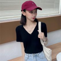 T-shirt White, black Average size Spring 2021 Short sleeve V-neck Self cultivation have cash less than that is registered in the accounts routine commute other 31% (inclusive) - 50% (inclusive) 18-24 years old Korean version Solid color Other / other W0331