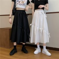 skirt Spring 2021 Average size White, black Mid length dress commute High waist A-line skirt Solid color Type A 18-24 years old W0403 30% and below other Other / other Korean version