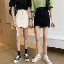 skirt Summer 2021 S,M,L Apricot, black Short skirt commute High waist A-line skirt Solid color Type A 18-24 years old W0409 30% and below other Other / other Korean version