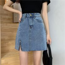 skirt Summer 2021 S,M,L,XL Black, denim Short skirt commute High waist A-line skirt Solid color Type A 18-24 years old W0411 30% and below other Other / other Korean version