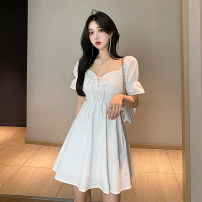 Dress Summer 2021 White, black Average size Short skirt singleton  Short sleeve commute square neck High waist Solid color Socket A-line skirt puff sleeve 18-24 years old Type A Other / other Korean version 0411Y 31% (inclusive) - 50% (inclusive) other other