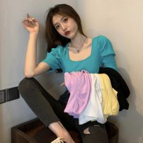 T-shirt Lake blue, white, purple, black, cream yellow, black and white, red and white, yellow and white Average size Spring 2021 Short sleeve Crew neck Self cultivation Regular puff sleeve commute other 30% and below 18-24 years old Korean version Solid color Other / other W0402