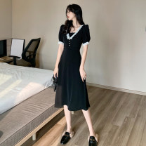 Dress Spring 2021 black S,M,L Mid length dress singleton  Short sleeve commute square neck High waist Solid color Socket A-line skirt 18-24 years old Type A Other / other Korean version 0401Y 31% (inclusive) - 50% (inclusive) other