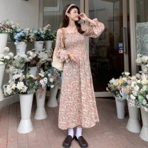 Dress Spring 2021 Purple, pink S,M,L Mid length dress singleton  Long sleeves commute square neck High waist Broken flowers Socket A-line skirt puff sleeve Others 18-24 years old Type A Other / other Korean version W0330 30% and below other