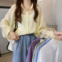 shirt Lemon yellow, pearl white, sky blue, grape purple, bean paste green Average size Spring 2021 other 30% and below Long sleeves commute Medium length Polo collar 18-24 years old Straight cylinder Other / other Korean version 0311L
