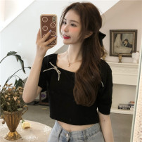 T-shirt White, black Average size Spring 2021 Short sleeve square neck Self cultivation have cash less than that is registered in the accounts puff sleeve commute other 31% (inclusive) - 50% (inclusive) 18-24 years old Korean version Other / other 0402Y bow