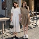 Dress Spring 2021 Average size Mid length dress singleton  Short sleeve commute Crew neck High waist Solid color Socket A-line skirt puff sleeve 18-24 years old Type A Other / other Korean version fold 31% (inclusive) - 50% (inclusive) other