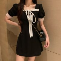 Dress Spring 2021 black Average size Short skirt singleton  Short sleeve commute square neck Solid color Socket puff sleeve Others 18-24 years old Other / other Korean version 0401L 30% and below other