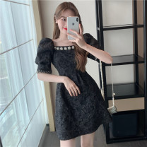 Dress Summer 2021 White, black S,M,L Short skirt singleton  Short sleeve commute square neck puff sleeve Others 18-24 years old Other / other Korean version 0418L 30% and below other