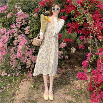 Dress Summer 2021 Dress with top and suspender Average size Mid length dress Two piece set Sleeveless commute High waist Socket A-line skirt camisole 18-24 years old Type A Other / other Korean version 0412Y 31% (inclusive) - 50% (inclusive)
