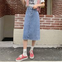 skirt Summer 2021 S,M,L blue Mid length dress commute High waist A-line skirt Solid color Type A 18-24 years old W0418 30% and below other Other / other Korean version