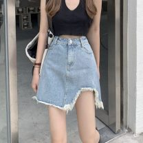 skirt Summer 2021 S,M,L blue Short skirt commute High waist A-line skirt Type A 18-24 years old 0413L 30% and below other Other / other Korean version