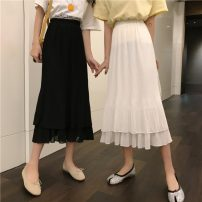 skirt Spring 2021 Average size White, black Mid length dress commute High waist Pleated skirt Solid color Type A 18-24 years old W0314 30% and below other Other / other Korean version