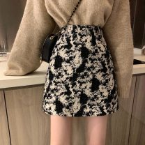 skirt Spring 2021 S,M,L Gray, black Short skirt commute High waist A-line skirt Decor Type A 18-24 years old 30% and below other Other / other zipper Korean version
