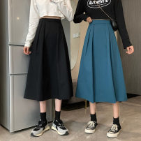 skirt Spring 2021 S,M,L Blue, black, card Mid length dress commute High waist A-line skirt Solid color Type A 18-24 years old 0409L 30% and below other Other / other Korean version