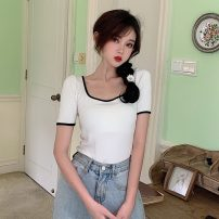T-shirt White, red, blue, black Average size Summer 2021 Short sleeve square neck Self cultivation have cash less than that is registered in the accounts routine commute other 30% and below 18-24 years old Korean version other Other / other W0418