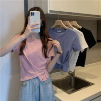 T-shirt White, blue, black, pink Average size Summer 2021 Short sleeve Crew neck Self cultivation have cash less than that is registered in the accounts commute other 30% and below 18-24 years old Korean version Other / other 0410L