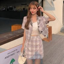 Fashion suit Spring 2021 S, M Plaid jacket, plaid skirt 18-25 years old Other / other W0401 31% (inclusive) - 50% (inclusive)