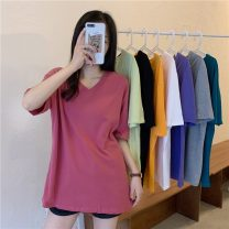 T-shirt Light green, lake blue, gray, white, purple, black, raspberry powder, orange Average size Spring 2021 Short sleeve V-neck easy Medium length routine commute other 30% and below 18-24 years old Korean version originality Solid color Other / other W0403