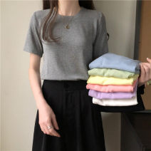 T-shirt Light green, light blue, gray, white, black, light yellow, light pink, light purple Average size Spring 2021 Short sleeve Crew neck Straight cylinder Regular commute other 30% and below 18-24 years old Korean version Other / other 0312L