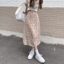 skirt Summer 2021 M, L Mustard yellow flowers, orange flowers, blue and purple flowers Mid length dress commute High waist A-line skirt Broken flowers Type A 18-24 years old 0411L 30% and below other Other / other polyester fiber Korean version