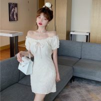 Dress Summer 2021 Jacket, dress S. M, average size Short skirt singleton  Short sleeve commute One word collar High waist Solid color Socket A-line skirt puff sleeve 18-24 years old Type A Other / other Korean version W0417 30% and below other