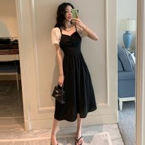 Dress Summer 2021 black S,M,L Mid length dress singleton  Short sleeve commute square neck High waist Socket A-line skirt puff sleeve 18-24 years old Type A Other / other Korean version W0410 30% and below other other