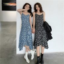 Dress Spring 2021 Blue, black M, L Mid length dress singleton  Sleeveless commute V-neck High waist Broken flowers Socket Ruffle Skirt other camisole 18-24 years old Type A Other / other Korean version 0215M 31% (inclusive) - 50% (inclusive) other