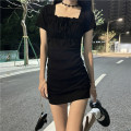 Dress Spring 2021 black Average size Short skirt singleton  Short sleeve commute square neck Solid color Others 18-24 years old Other / other Korean version 0403L 30% and below other