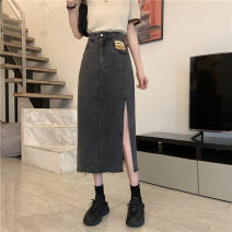skirt Summer 2021 S,M,L,XL Light blue, black Mid length dress commute High waist A-line skirt Solid color Type A 18-24 years old 0407M 30% and below other Other / other Korean version