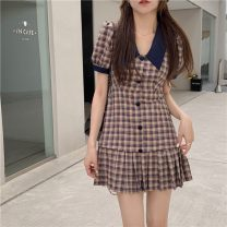 Dress Summer 2021 Picture color S, M Short skirt singleton  Short sleeve commute High waist lattice double-breasted A-line skirt routine 18-24 years old Type A Other / other Korean version Button W0411 30% and below other polyester fiber