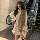 Dress Spring 2021 Average size Short skirt Two piece set Long sleeves commute Polo collar High waist Solid color Single breasted A-line skirt pagoda sleeve 18-24 years old Type A Other / other Korean version 30% and below