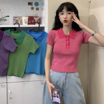 T-shirt Rose, purple, green, blue Average size Summer 2021 Short sleeve Polo collar Self cultivation have cash less than that is registered in the accounts routine commute other 51% (inclusive) - 70% (inclusive) 18-24 years old Korean version other Solid color Other / other W0417