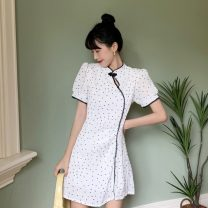 Dress Spring 2021 white S,M,L,XL Short skirt singleton  Short sleeve commute other Dot A-line skirt bishop sleeve Others 18-24 years old Type A Other / other Korean version 30% and below other other
