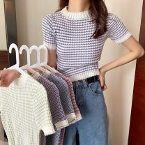 T-shirt Blue stripe, royal blue stripe, pink stripe, cream yellow stripe, purple stripe Average size Summer 2021 Short sleeve Crew neck Self cultivation have cash less than that is registered in the accounts commute other 30% and below 18-24 years old Korean version Other / other 0412L