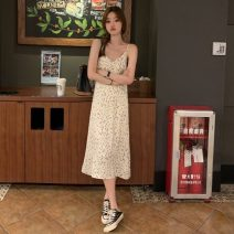 Dress Summer 2021 Apricot, black Average size Mid length dress singleton  Sleeveless commute V-neck Broken flowers Socket A-line skirt camisole 18-24 years old Type A Other / other Korean version 0411L 30% and below other