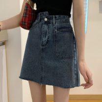 skirt Summer 2021 S,M,L,XL Blue, black Short skirt commute High waist A-line skirt Solid color Type A 18-24 years old 0331@ Korean version