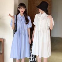 Dress Spring 2021 White, blue Average size Mid length dress singleton  Short sleeve commute Polo collar High waist Solid color Socket A-line skirt routine 18-24 years old Type A Other / other Korean version Button W0331 30% and below other